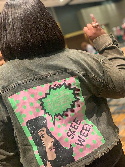 99 Problems Green Denim Jacket