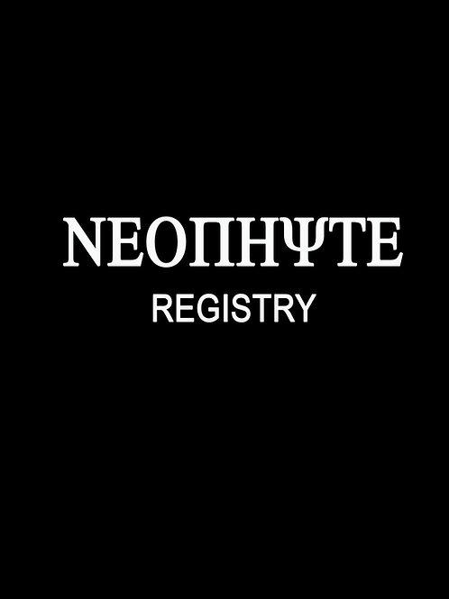 NEOPHYTE REGISTRY