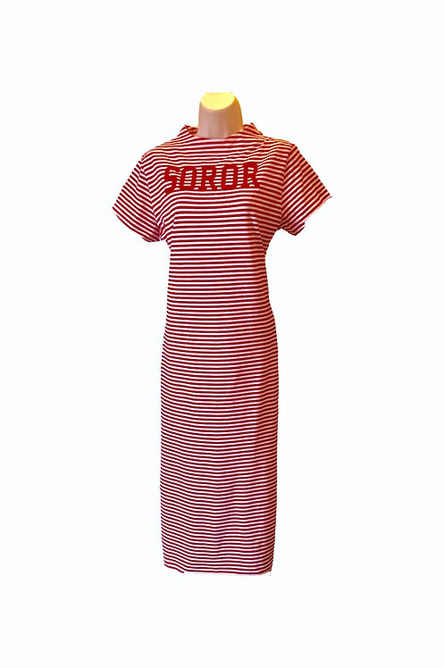 RED STRIPED SOROR DRESS