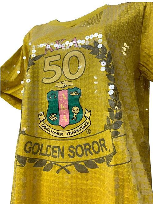 Golden Soror Sequin Vneck Top