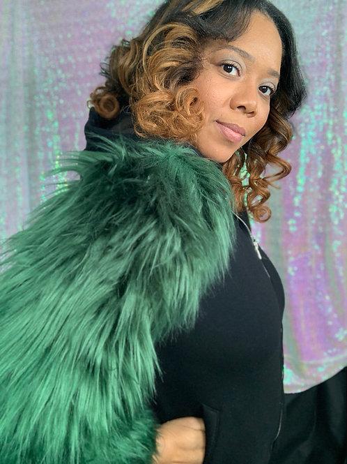 Green Fur Sleeve Hoodie