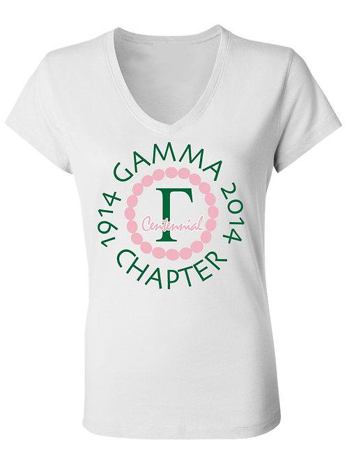 Gamma Chapter Centennial Tee- Vneck/shortsleeve