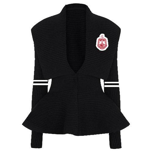 Peplum Varsity Sweater-Delta Black