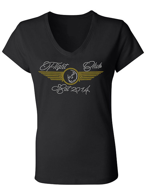LADIES FLIGHT CLUB Tshirt-Vneck (BLACK)
