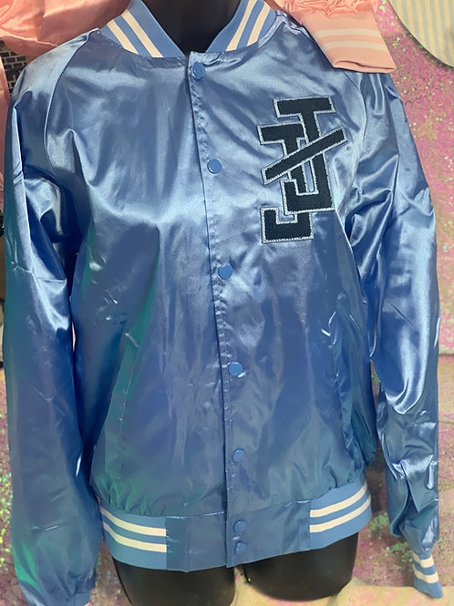 BLUE Satin Bomber Jacket - Unisex