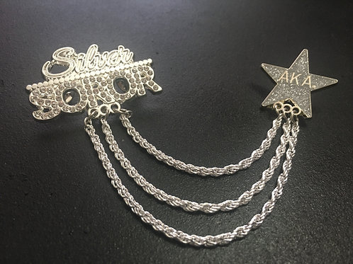 Silver Star Soror Double Pin