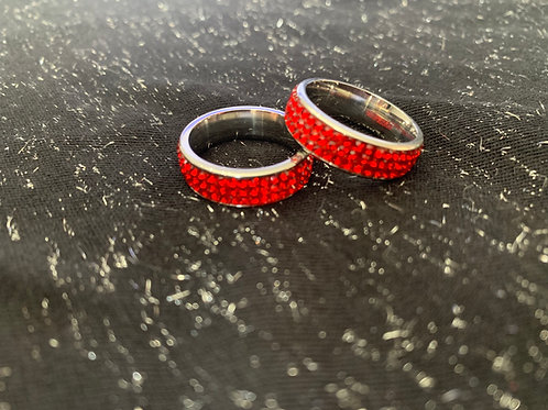 RED BLING STACKABLE RINGS