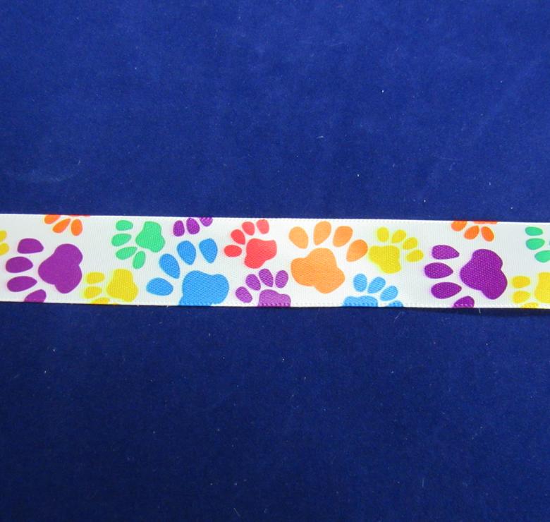 Multi-colored Paw Print Ribbon