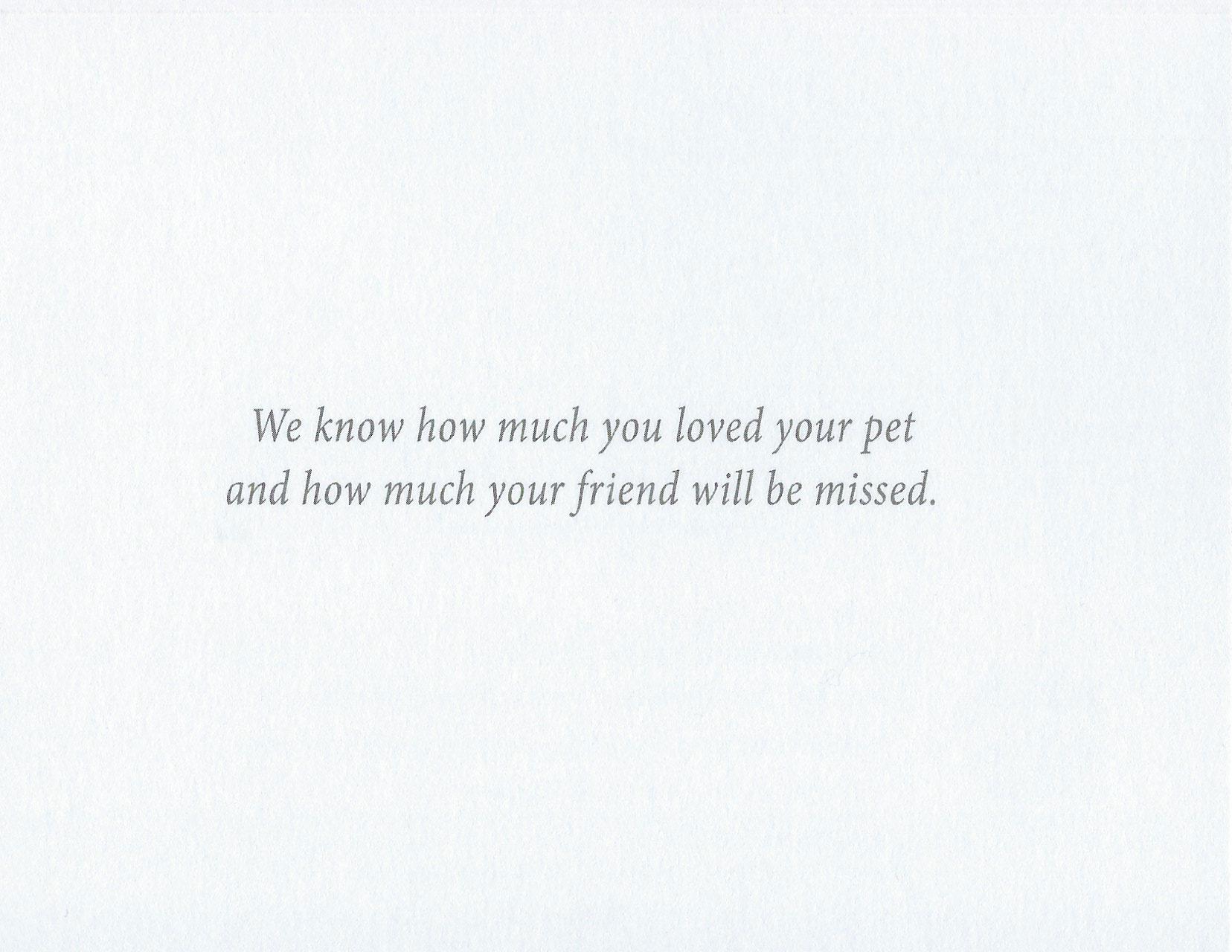 S56 Pet Sympathy Card