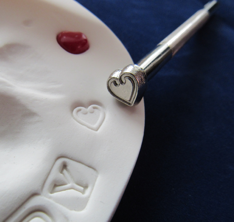 Heart Stamp Kit in use