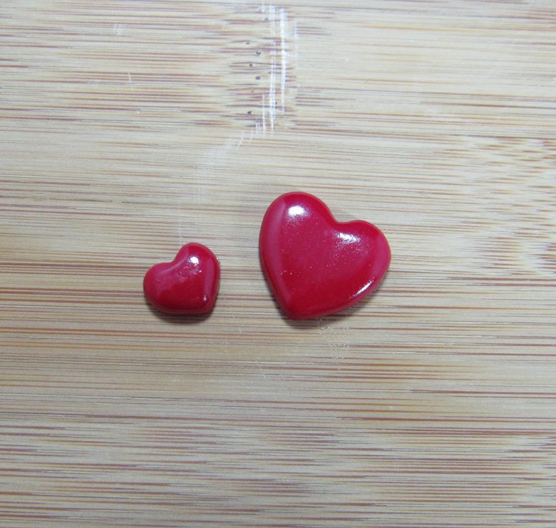 Small and Large Red Heart Charms