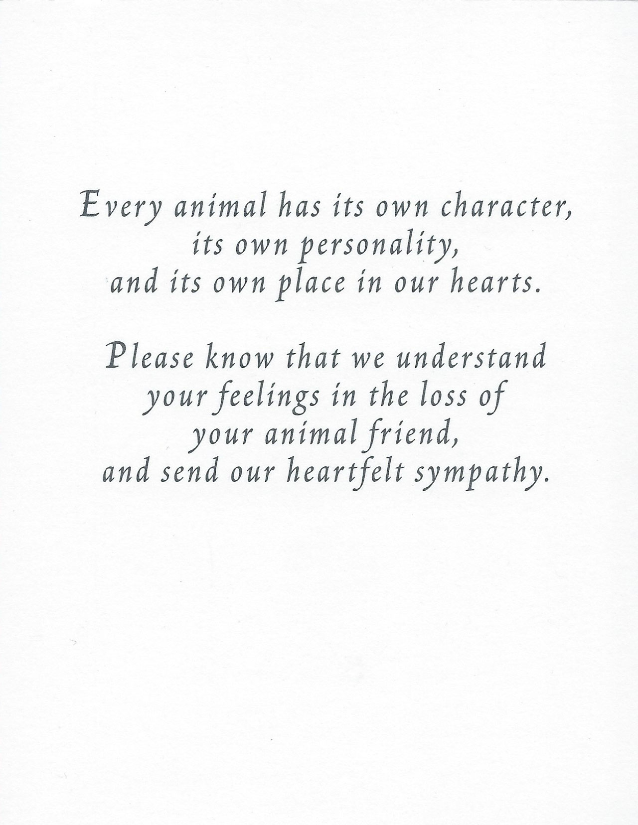 S18 Large Animal Sympathy Card