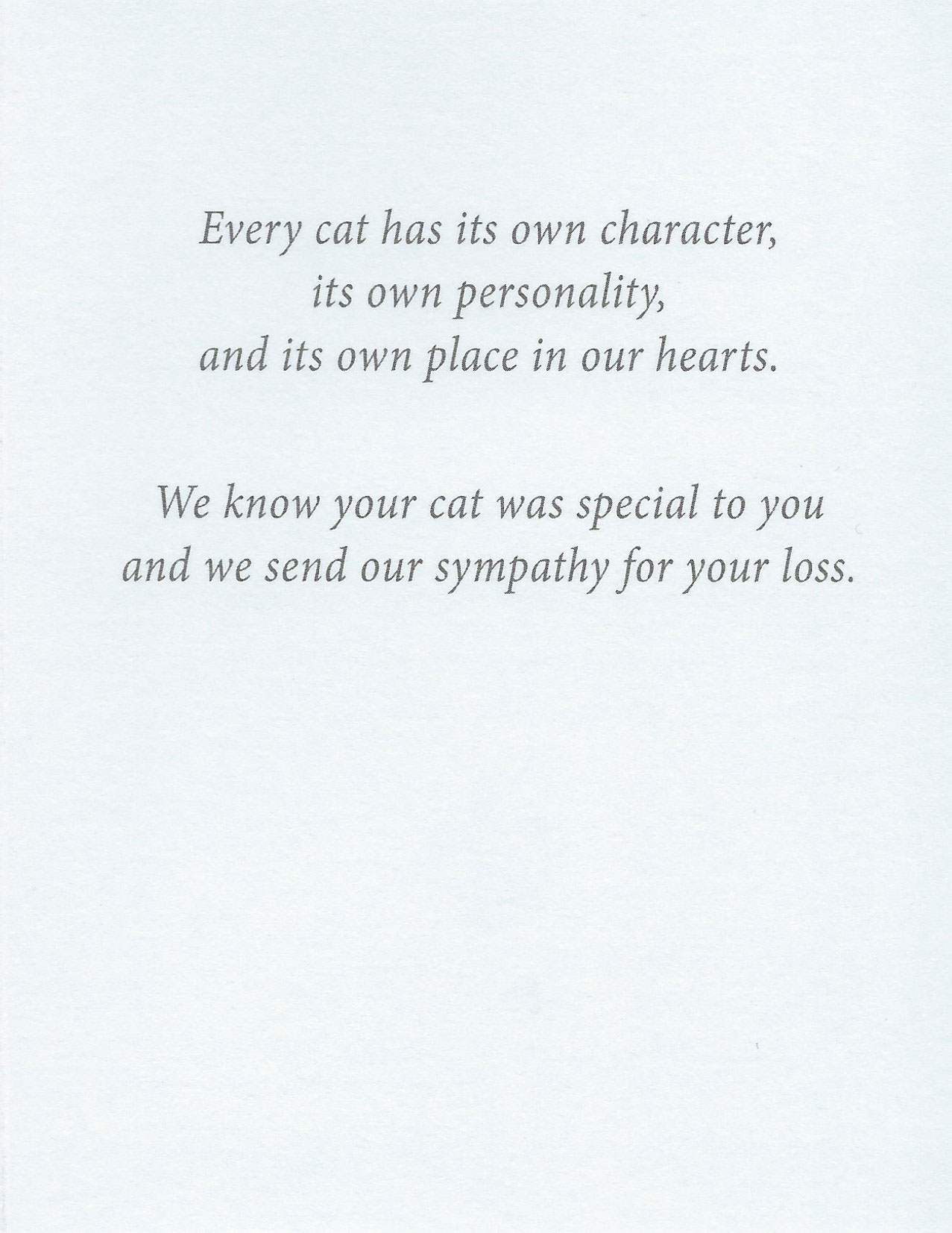 S61 Cat Sympathy Card