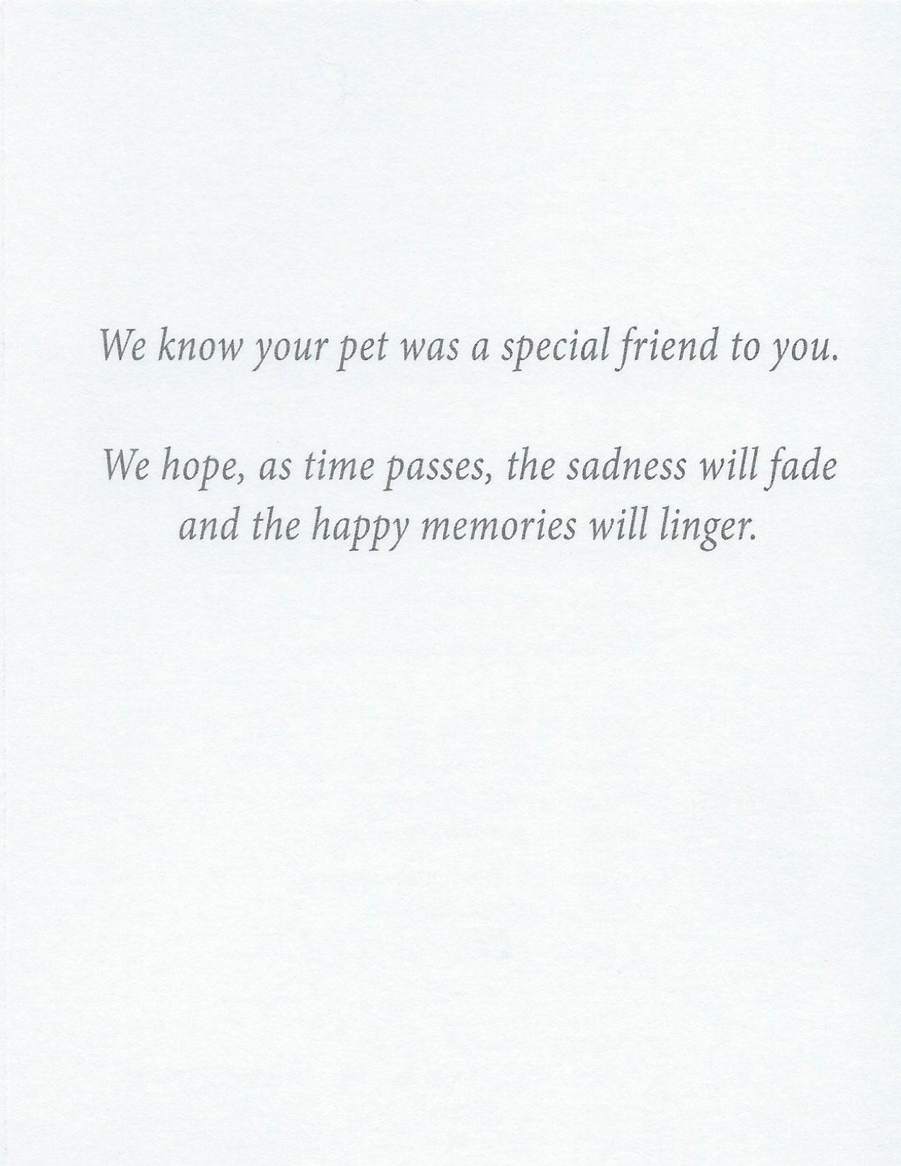 S54 Pet Sympathy Card