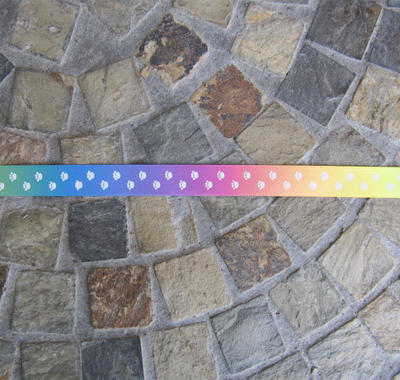 Rainbow Ribbon with White Paw Prints