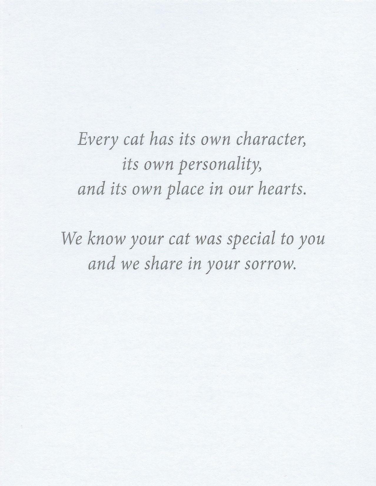 S13 Cat Sympathy Card