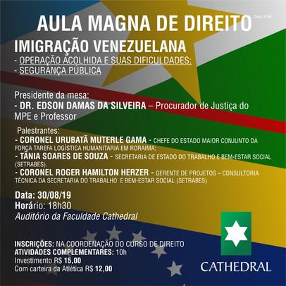 Aula Magna de Direito abordará Imigração Venezuelana e Segurança Pública