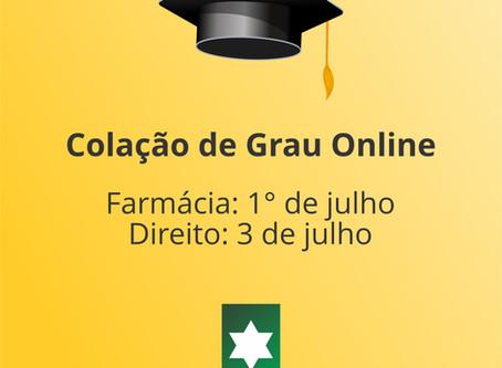 Formandos de Farmácia e Direito têm colação de grau online
