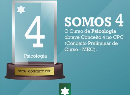 Curso de Psicologia recebe Conceito 4 no CPC na avaliação do MEC