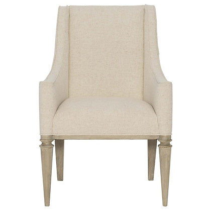 Modern French Beige Upholstered Sandstone Brown Wood Dining Arm Chair