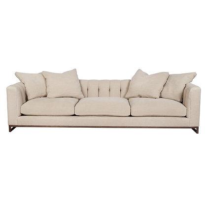 Modern Classic Beige Linen Tufted Sofa