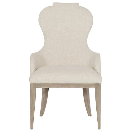 Modern French Beige Sandstone Brown Wood Rounded Back Dining Arm Chair