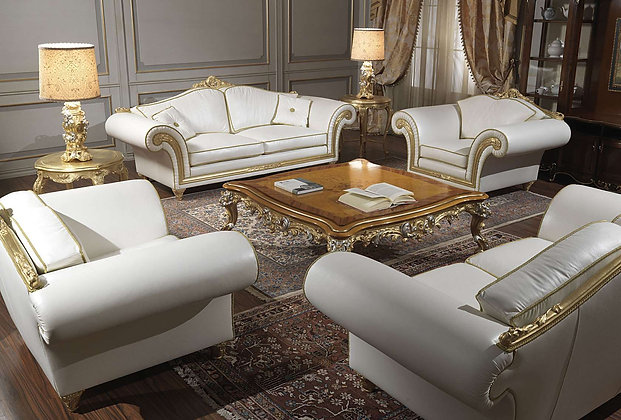 Classic sofa Imperial in white leather