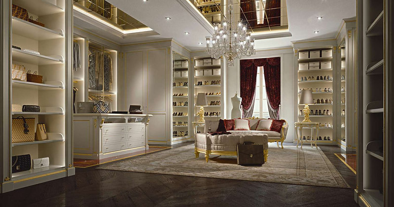 Luxury custom walk-in closet wardrobe