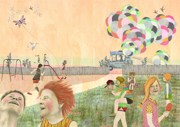Fully-elaborated double-page artwork