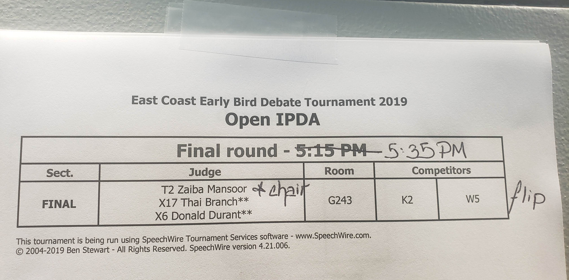 East Coast Early Bird Debate Tournament