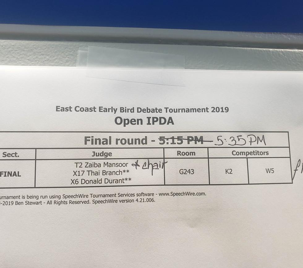 East Coast Early Bird Debate Tournament
