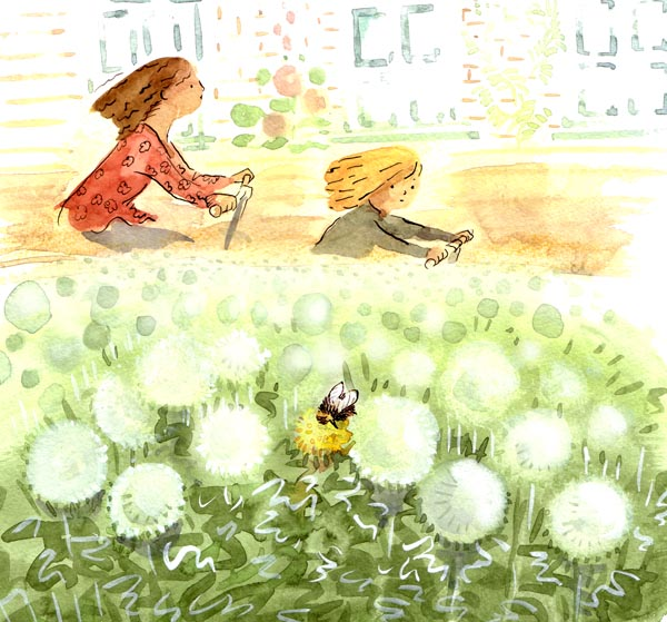 she saw a bee sniffing at the only remaining yellow dandelion, 1.jpg