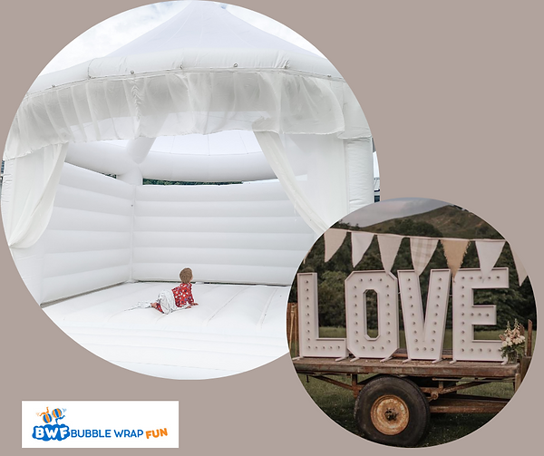 White bouncy castle for weddings or events