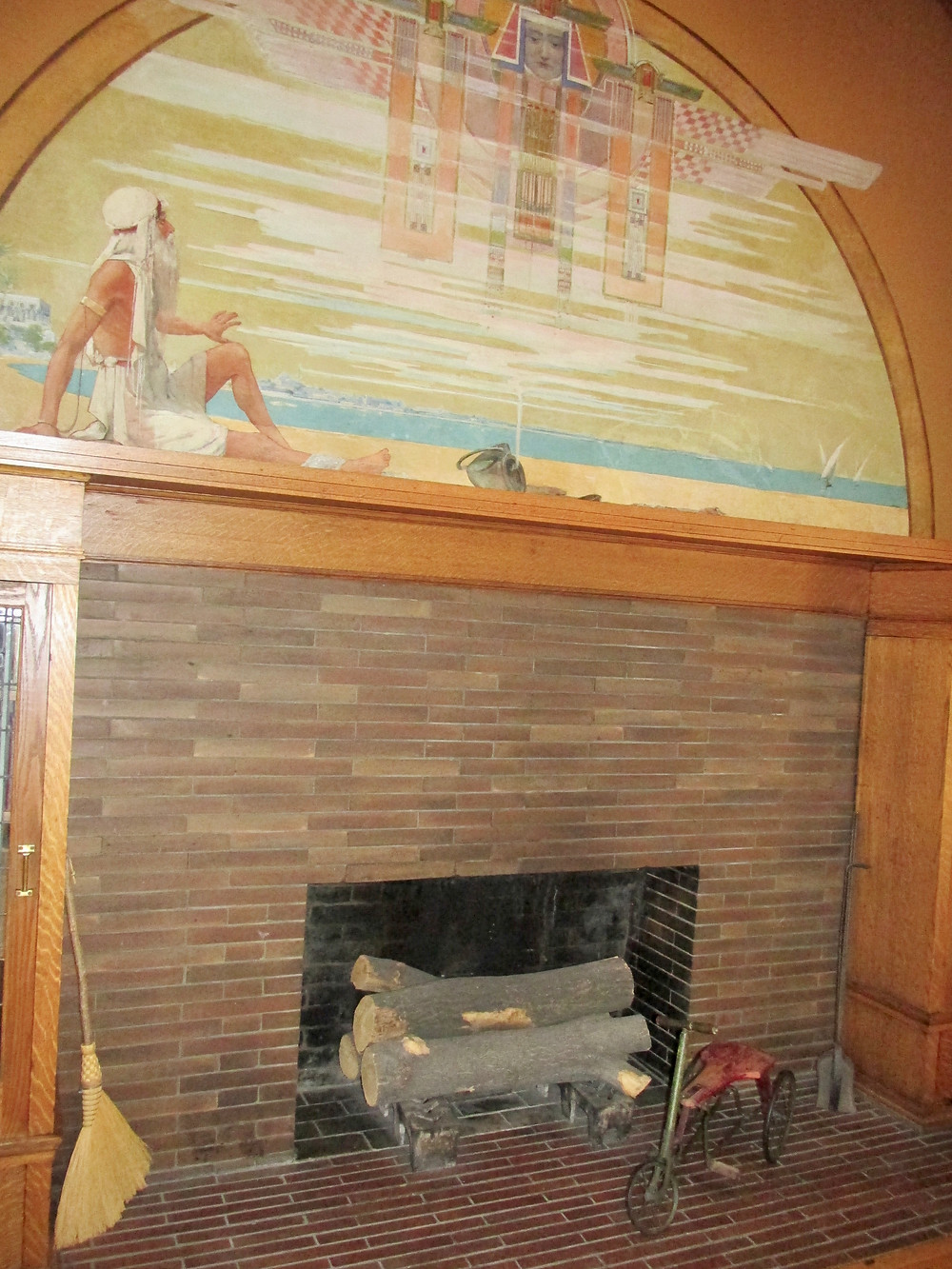 The playroom fireplace