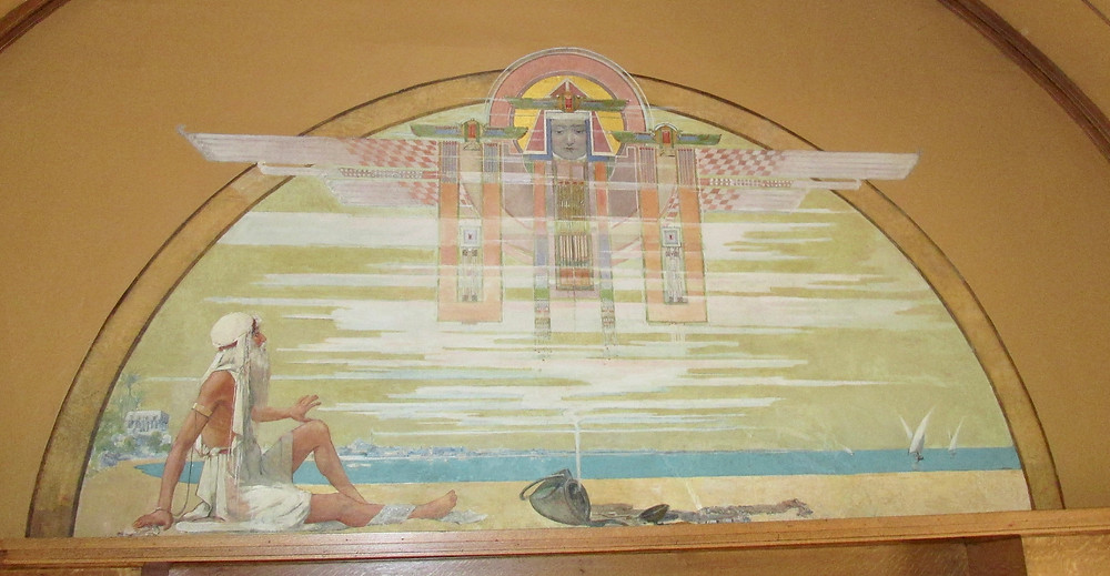 The illustration of a favourite story in the children's playroom, the fisherman and the genie