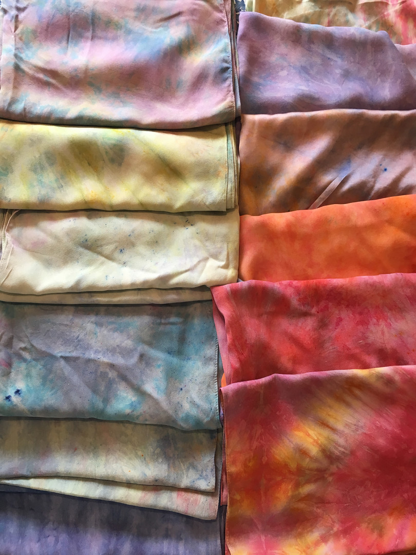 dyed silk scarves