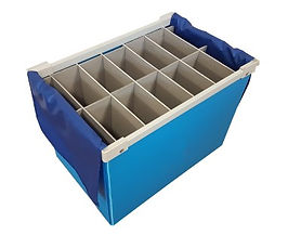 A blue container box with 'A' Face EV Lam Dividers