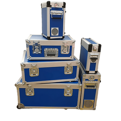 A stack of flight cases in different sizes