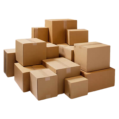 Cardboard boxes in various different sizes