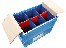 A container box with textile inserts