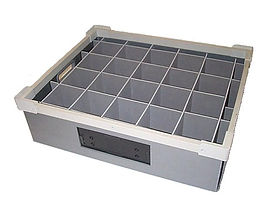 A plastic box with Correx dividers