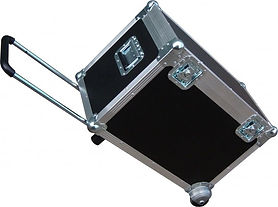A Scale case with pull out extended handles on wheels