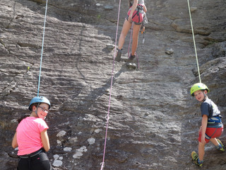 Family climbing in Les Contamines