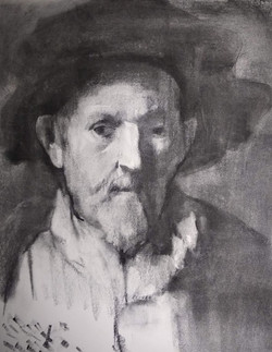 After Rembrandt / Charcoal on Paper