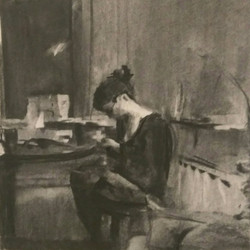 Shay Sewing / Charcoal on Paper