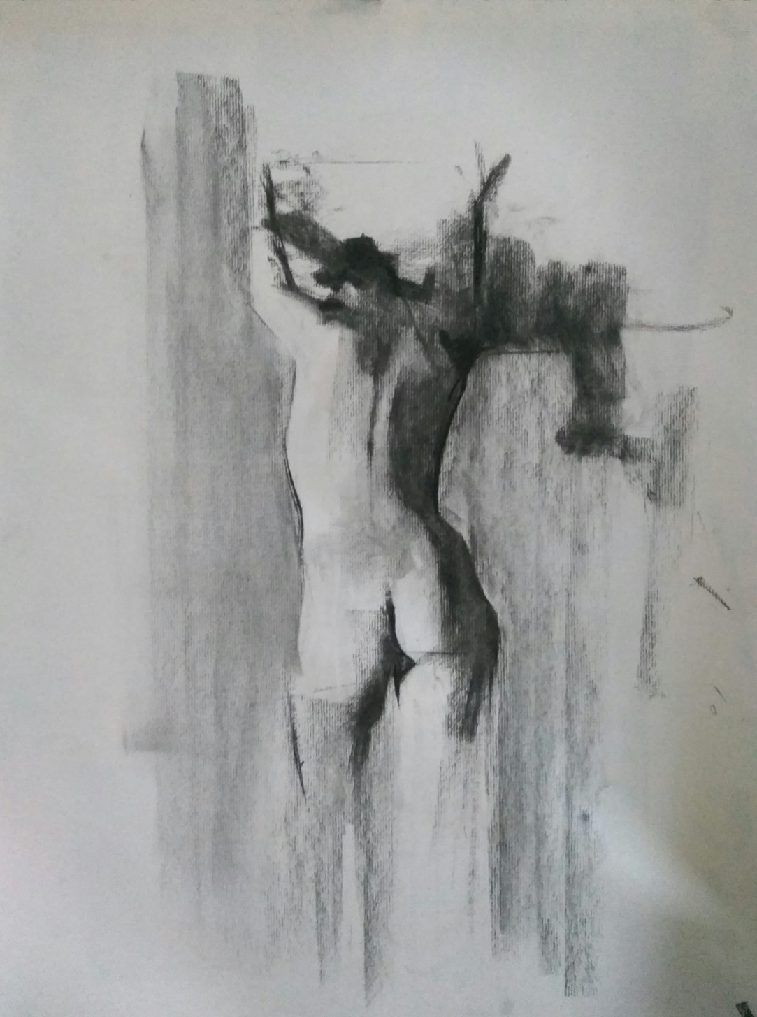 Standing Nude / Charcoal on Paper