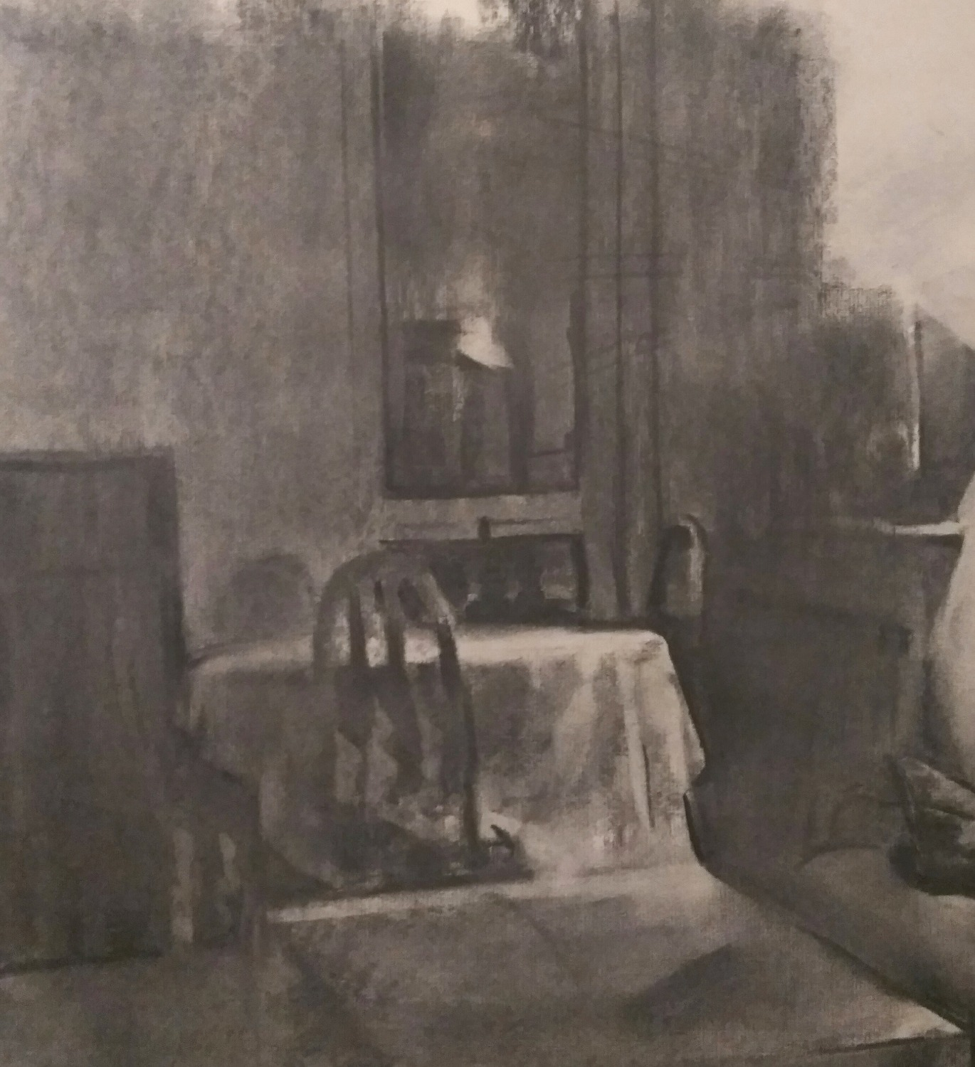 Living Room / Charcoal on Paper