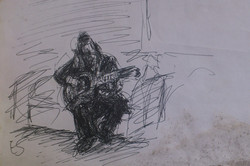 Hasid Plays Guitar / Pen on Paper