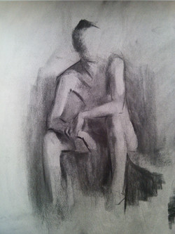 Posing Model / Charcoal on Paper