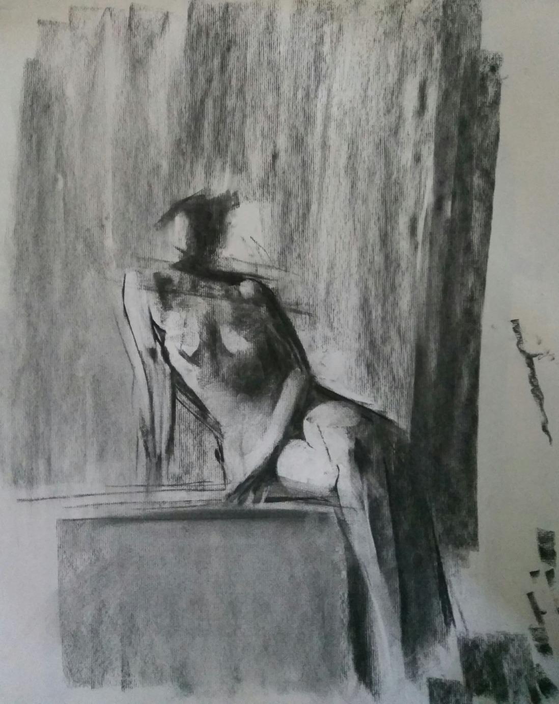 Posing Nude / Charcoal on Paper